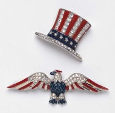 Trifari Uncle Sam Top Hat and Eagle Brooches Former Secretary of State Madeleine Albright 1940s Jewelry, Vintage Costume Jewelry, Vintage Costumes, Vintage Jewelry, Fine Jewelry, Jewellery, Oncle Sam, Madeleine Albright, Blue Color Combinations