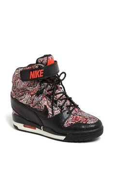 Nike 'Air Revolution Sky Hi Liberty' black solar red Wedge Sneaker (Women)  available at