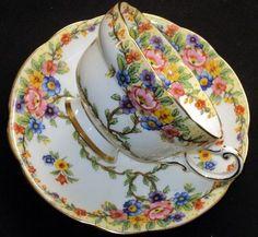 STAR Paragon Artsy Deco fleur simplyTclub Tea cup and saucer♥