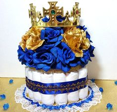 Royal Prince Baby Shower Candy Buffet Centerpiece & Oh Baby by PlatinumDiaperCakes Royal Baby Shower Theme, Baby Shower Azul, Baby Shower Candy, Royal Baby Showers, Boy Baby Shower Themes, Baby Shower Diapers, Baby Boy Shower, Diaper Cake Centerpieces, Baby Shower Centerpieces