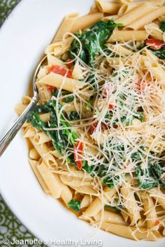 quick and easy - Pasta with Spinach Tomatoes and Parmesan Cheese