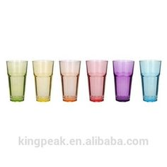 16oz Beautiful 6 Piece Fun Multi Color Drinking Glass Set Tumbler Set