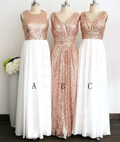 Gliiter Rose Gold Sequins Bridesmaid Dress White Chiffon Long Bridesmaid Dresses Custom Color Formal Women Prom Dress For Bridal Wedding