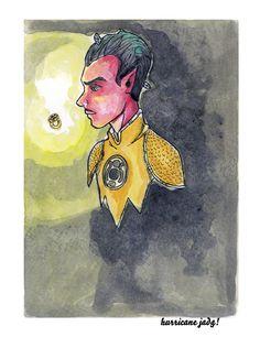 Ilustración acuarelas con tinta, fan art de Sinestro