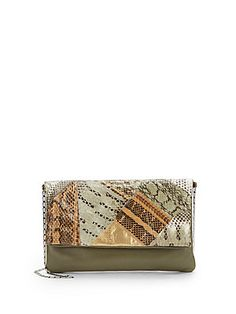 d6283cea0bca Carlos Falchi Watersnake   Leather Foldover Pillow Clutch Saks Fifth  Avenue