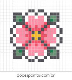 Doces Pontos: Spring flower perler bead pattern