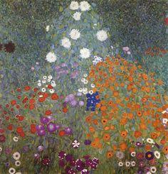 Gustav Klimt (Austrian, Art Nouveau, 1862-1918): Farm Garden (Flower Garden), Bauerngarten (Blumengarten); 1905. Oil on canvas, 110 x 110 cm. Fondation Rau pour le Tiers-Monde, Zürich, Switzerland.