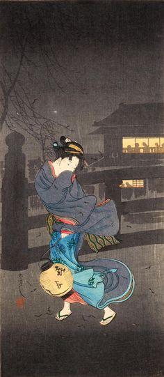 Takahashi Hiroaki (Shotei) Cold Winter Wind, woodblock print,ca. Japanese Art Styles, Japanese Prints, Ikebana, Linocut Prints, Art Prints, Block Prints, Japanese Woodcut, Art Japonais, Japanese Painting