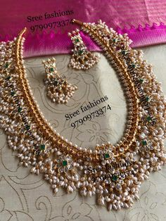 Traditional gold plated pure silver guttapusalu haram, an absolutely stunning long necklace set. Indian Bridal Jewelry Sets, Silver Jewellery Indian, Silver Jewelry, Silver Ring, Silver Earrings, Pakistani Jewelry, Antique Earrings, Gold Plated Necklace, Jewelry Design Earrings