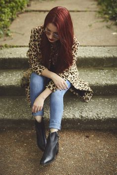 Skinny jeans + Ankle boots + H&M leopard dress coat fall outfit idea | Photo by Ben Romang Photography, taken in St. Louis' CWE