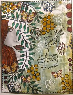 Background colored on a gelli plate with acrylic paints.  I also used stencils, an image from google, copic markers, and some punched  butterflies.