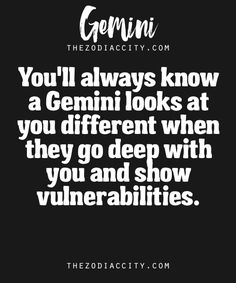 Zodiac Gemini Facts – You'll always know a Gemini looks at you different when they go deep with you and show vulnerabilities. Zodiac Gemini Facts – You'll always know a Gemini looks at you different when they go deep with you and show vulnerabilities. Gemini Man In Love, All About Gemini, Gemini Sign, Gemini Quotes, Gemini Woman, Zodiac Signs Gemini, Gemini And Cancer, Taurus And Gemini, Zodiac Facts