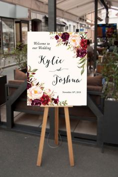 Wedding Welcome Sign Large Floral Wedding Sign by InkAndVeil