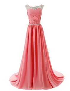 Dressystar Beaded Straps Bridesmaid Prom Dresses with Sparkling Embellished Waist Size 4 Coral