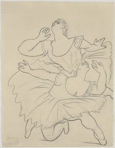 Two Dancers  - Pablo Picasso - (Summer) 1919. Pencil on paper.