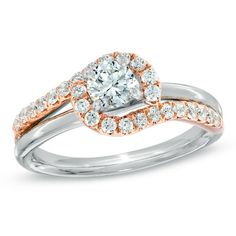 Celebration Grand™ 3/4 CT. T.W. Certified Diamond Swirl Framed Engagement Ring in 14K Two-Tone Gold (I/I1) - Zales