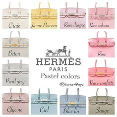 Oct 2019 - e are some standard Hermes colors and how it looks on the Birkin. I've taken these pictures from various sources and complied them for easy reference. Sac Birkin Hermes, Hermes Bags, Hermes Handbags, Cheap Handbags, Hermes Kelly Taschen, Hermes Kelly Bag, Luxury Bags, Luxury Handbags, Birken Bag