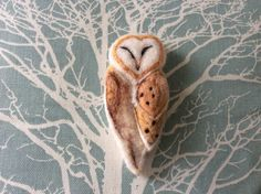 Needle felted owl brooch by Sue Johnson