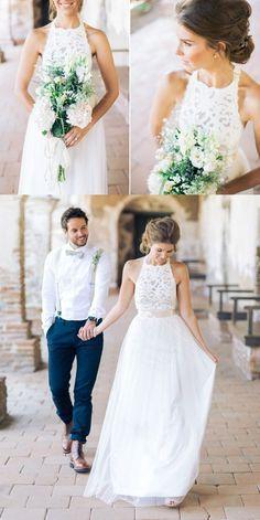 Simple Jewel Sleeveless Floor-Length Chiffon Lace Top Wedding Dress with Bow