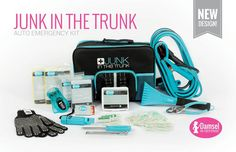 """Junk In The Trunk Auto Emergency Kit $65 Be prouder than ever of the junk in your trunk with this kit that contains everything you would need for a roadside """"HERmergency!""""  Kit includes: Jumper cables, 5-in-1 waterproof whistle compass, battery-free LED flashlight, gloves  with grips, waterproof matches, 2 emergency blankets, 2 adult-sized rain ponchos, heavy-duty snow/ice scraper, tool set, tire pressure gauge, 36-piece first aid kit.  https://vimeo.com/151555443"""