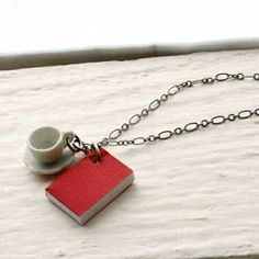 brand new 5927f 61a83 Book and Tea Cup Necklace, Red Book Necklace, Miniature Book Necklace,  Teacup Necklace, Coffee Cup Necklace Book Necklace Book Jewelry