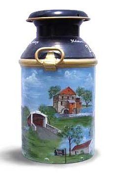 folk art pattern on milk cans Primitive Painting, Tole Painting, Painting On Wood, Painted Milk Cans, Paint Cans, Old Milk Cans, Milk Jugs, Galo, Pictures To Paint