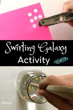 Swirling Galaxy Science Project for Kids - this is such a fun hands on science activity to help kids to learn about the solar system. Preschool Kindergarten first grade grade and grade kids will all love this project! Planets Activities, Solar System Activities, Space Activities For Kids, Solar System Crafts, Classroom Activities, Physics Classroom, Toddler Activities, Learning Activities, Classroom Ideas