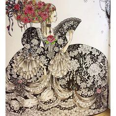 Instagram media mai.y.21 - もともとのイラストが素晴らしいので黒ドレスにしました。これで完成で良いのかも分からないし、こんなブラックなシンデレラもいないと思うけど(´-`)そのうち書き足すかもです #おとぎ話のぬり絵シリーズ #お姫さまと妖精のぬり絵ブック #コロリアージュ #色鉛筆 #ホルベイン #ホルベイン色鉛筆 #ホルベインアーチスト#おとなのぬりえ #シンデレラ #おとなの塗り絵 #塗り絵 #coloriage #princessesandfairiescoloringbook #holbein #adultcoloring #adultcolouringbook #princess #coloringbook