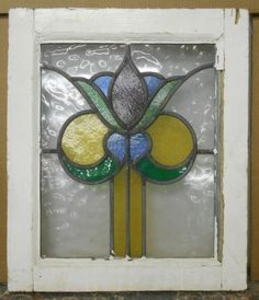 "OLD ENGLISH LEADED STAINED GLASS WINDOW Beautiful Floral 18"" x 21"" in Antiques, Architectural & Garden, Stained Glass Windows 