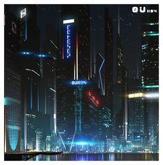 Cyberpunk Atmosphere, Futuristic, Future City, Cyber City by Chris Spencer