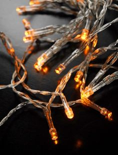 Battery Operated Lights Clear Cord 30 Amber  LEDs  130 in.