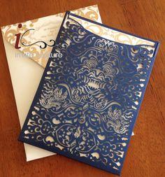 Custom Lasercut Luxury Wedding invitation Pocket - Foil Stamped Luxury Invitations - Die Cut Custom Luxury Invitaitons