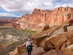 Deb headed back to camp on the Cohab Trail in Capitol Reef National Park