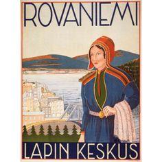 1937 travel poster for Rovaniemi Finland (Lapland - Sami) Vintage Travel Posters, Vintage Postcards, Vintage Advertisements, Vintage Ads, Vintage Gifts, Illustrations Vintage, Finland Travel, Retro Poster, Poster Vintage