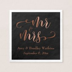 """Mr and Mrs"" Faux Copper Script on Black Wedding Napkin - simple clear clean design style unique diy"