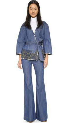 Hit all this season's trends: 70s-inspired, denim-on-denim, and turtlenecks with this Derek Lam 10 Crosby Flare Jeans and Acne look.