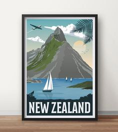 New zealand Vintage Travel Poster Australia Travel poster Vintage Travel Posters, Vintage Ads, Bulgaria, Lago Tahoe, Sailing Theme, Posters Australia, Argentine, Christian Wall Art, Look Plus