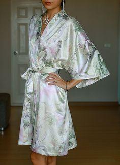 SALE Champagne Floral Kimono Bathrobe Satin Robes  Bridal by AnyzA, $24.99