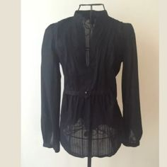 """Marc by Marc Jacobs Sheer Cotton Poets Blouse EUC Adorable black sheer poets top by designer Marc Jacobs from his Marc by Marc Jacobs line. Features a black pleated design down the bust and back of the top - ties at back - slit down front of neckline. Material is of a striped pattern will a small polka dot that can only be seen if looked at real closely. Material details: 100% cotton Measurements: length- 25"""" sleeve length- 23"""" shoulder to shoulder- 12.75"""" pit to pit- 18"""". machine washable…"""