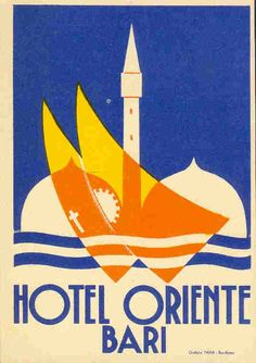 Hotel Oriente Bari Vintage travel label