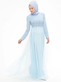 7665a037c00 Blue - Fully Lined - Crew neck - Muslim Evening Dress