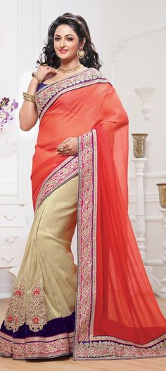 144465: #saree #Patchwork #colorblock #patchwork #Georgette, #Embroidery, #Sequence, #zari #sequin #partywear #wedding #bridalgifts