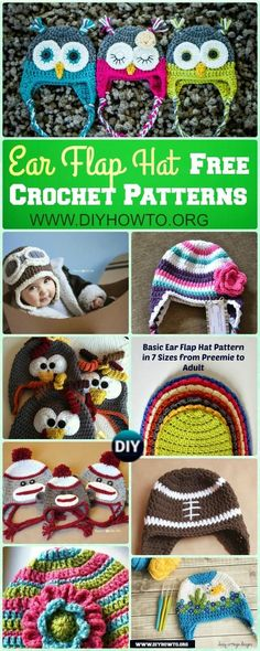 Winter Ear Flap Hat Crochet Pattern Free For Kids, Adults, Girls and Boys and Holiday Gifts via @diyhowto