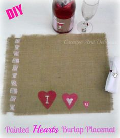 An easy tutorial on painting fabrics and making this Burlap placemat for Valentines Day !