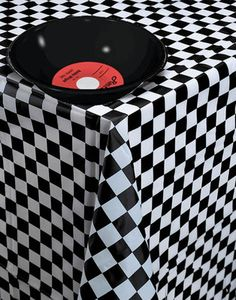 black and white checked tablecloth roll