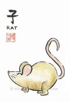 it is from chisai letters on etsy Chinese New Year Greeting, New Year Greeting Cards, Birth Animal, Chinese Zodiac Rat, Signature Stamp, Or Mat, Thing 1, Year Of The Rat, Japanese Characters
