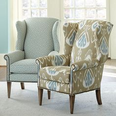 Maybe I can update my wing chair with nail head trim instead of reupholstering Chair Fabric, Chair Pads, Sofa Chair, Upholstered Chairs, Chair Cushions, Wingback Chairs, Armchairs, Pub Table And Chairs, French Dining Chairs