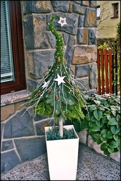 Eingang dekorieren Eingang weihnachtlich dekorieren Tannenbaum in Blumentopf You are in the right place about Tree sketch Here we offer you the most beautiful pictures about the palm Tree you are look Noel Christmas, All Things Christmas, Winter Christmas, Christmas Crafts, Christmas Stockings, Christmas Planters, Christmas Fashion, Vintage Christmas, Christmas Ideas