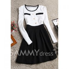 $12.19 Sweet Style Scoop Neck Ruffled Color Splicing Long Sleeves Dress For Women