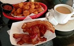 'BK hashbrowns and candied applewood smoked bacon with  brown sugar